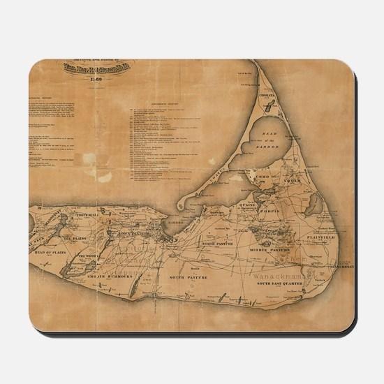 Vintage Map of Nantucket (1869) Mousepad