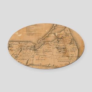 Vintage Map of Nantucket (1869) Oval Car Magnet
