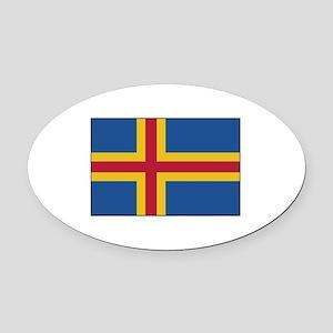 Aland, Finland Flag Oval Car Magnet