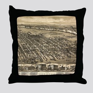 Vintage Pictorial Map of Hoboken NJ ( Throw Pillow