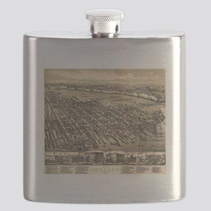 Vintage Pictorial Map of Hoboken NJ (1881) Flask