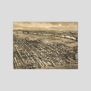 Vintage Pictorial Map of Hoboken NJ 5'x7'Area Rug