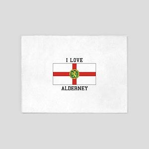 I Love Alderney 5'x7'Area Rug