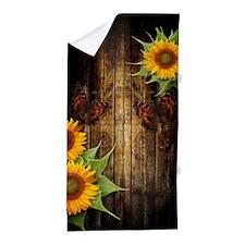 Butterflies And Sunflowers Beach Towel