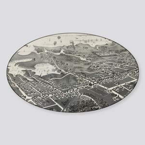 Vintage Pictorial Map of Hyannis MA Sticker (Oval)
