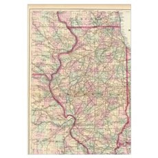 Vintage Map of Illinois (1874) Poster