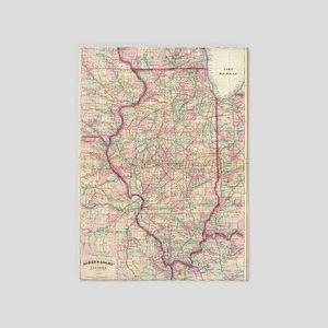 Vintage Map of Illinois (1874) 5'x7'Area Rug