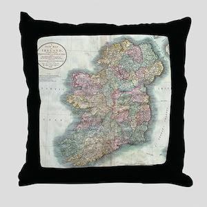 Vintage Map of Ireland (1799) Throw Pillow