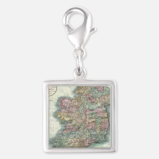 Vintage Map of Ireland (1799) Silver Square Charm