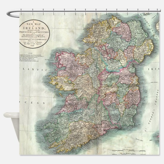 Vintage Map of Ireland (1799) Shower Curtain