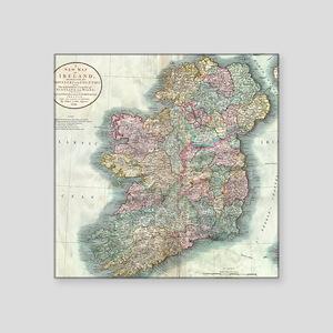 "Vintage Map of Ireland (179 Square Sticker 3"" x 3"""
