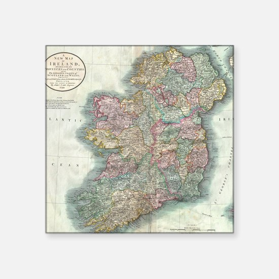 "Vintage Map of Ireland (179 Square Sticker 3"" x 3"""