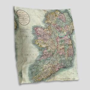 Vintage Map of Ireland (1799) Burlap Throw Pillow