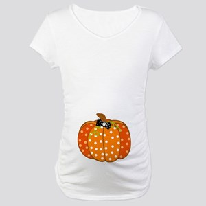 Polka Dot Pumpkin Maternity T-Shirt