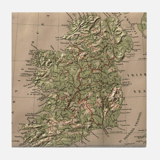 Vintage Physical Map of Ireland (1880 Tile Coaster