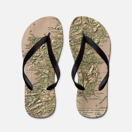 Vintage Physical Map of Ireland (1880) Flip Flops