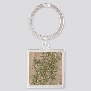 Vintage Physical Map of Ireland (1 Square Keychain