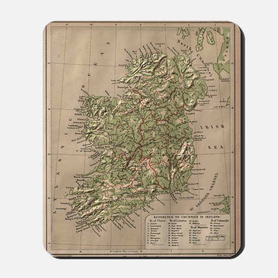 Vintage Physical Map of Ireland (1880) Mousepad