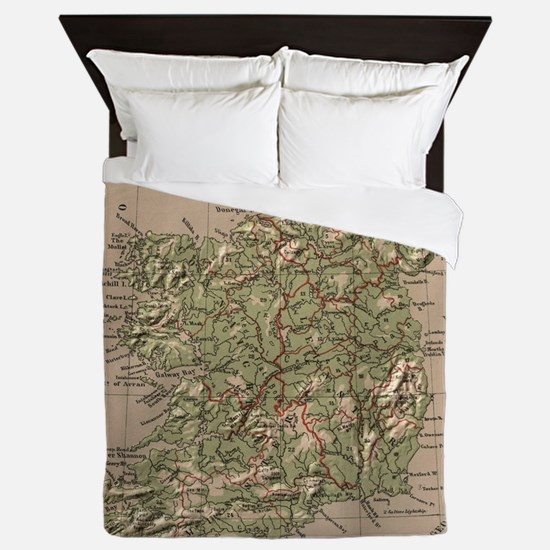 Vintage Physical Map of Ireland (1880) Queen Duvet