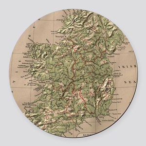 Vintage Physical Map of Ireland ( Round Car Magnet