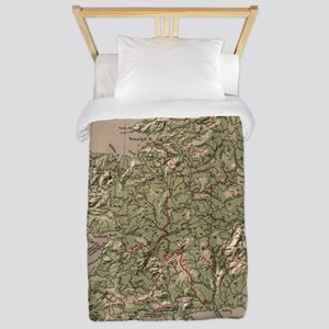 Vintage Physical Map of Ireland (1880) Twin Duvet