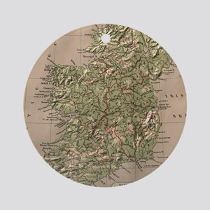 Vintage Physical Map of Ireland (18 Round Ornament