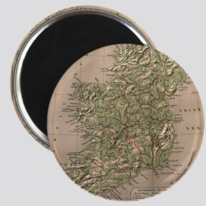 Vintage Physical Map of Ireland (1880) Magnet
