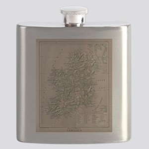 Vintage Physical Map of Ireland (1880) Flask