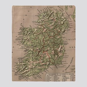 Vintage Physical Map of Ireland (188 Throw Blanket