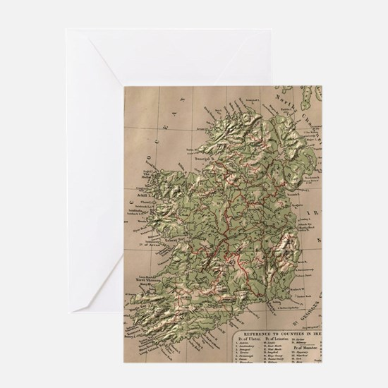 Vintage Physical Map of Ireland (188 Greeting Card
