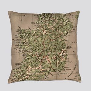 Vintage Physical Map of Ireland (1 Everyday Pillow