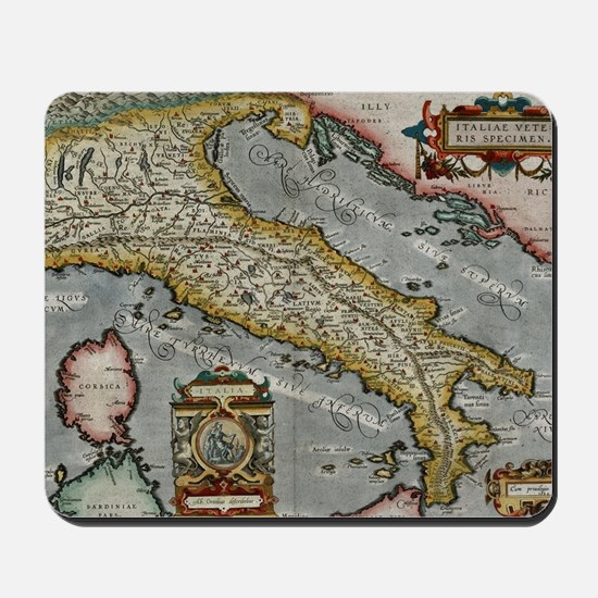 Vintage Map of Italy (1584) Mousepad