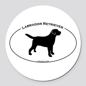 Labrador Oval Text Round Car Magnet