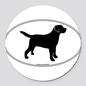 Black Lab Outline Round Car Magnet