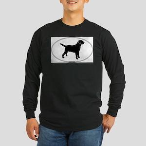 Black Lab Outline Long Sleeve Dark T-Shirt