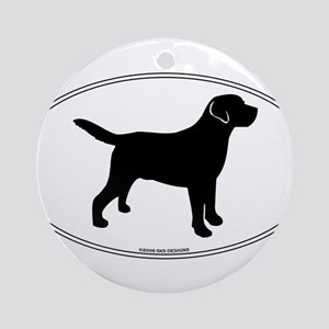 Black Lab Outline Ornament (Round)