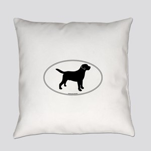 Black Lab Outline Everyday Pillow