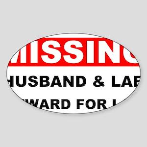 Missing Husband Lab Sticker (Oval)