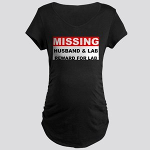 Missing Husband Lab Maternity Dark T-Shirt