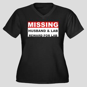 Missing Husband Lab Women's Plus Size V-Neck Dark