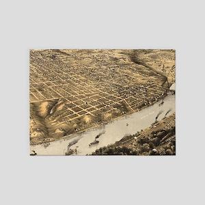 Vintage Pictorial Map of Kansas Cit 5'x7'Area Rug