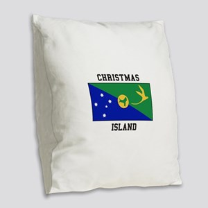 Christmas Island Burlap Throw Pillow
