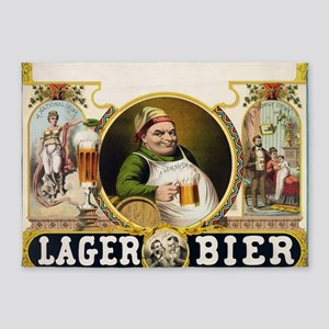 Vintage Lager Beer Advertisement 5'x7'Area Rug