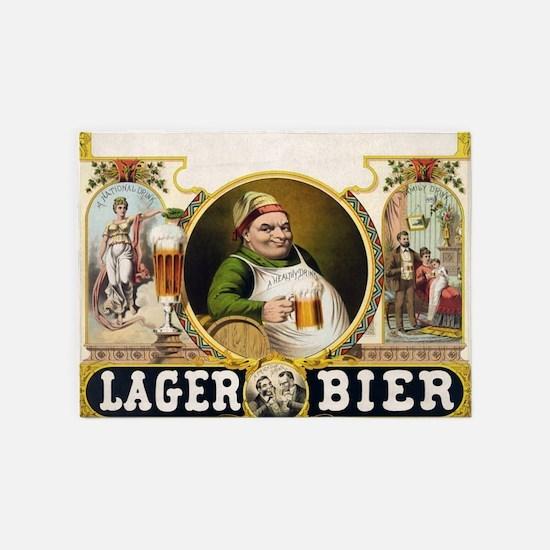 Vintage Lager Beer Advertisement 5'x7'Area Rug