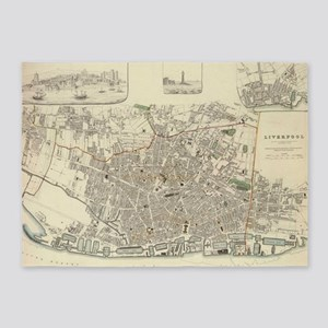 Vintage Map of Liverpool England (1 5'x7'Area Rug