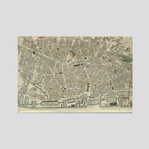 Vintage Map of Liverpool England  Rectangle Magnet
