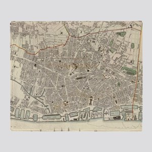 Vintage Map of Liverpool England (18 Throw Blanket