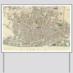 Vintage Map of Liverpool England (1836) Yard Sign
