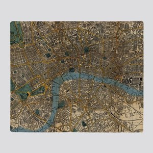 Vintage Map of London England (1860) Throw Blanket