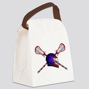 Lacrosse Helmet with sticks Canvas Lunch Bag